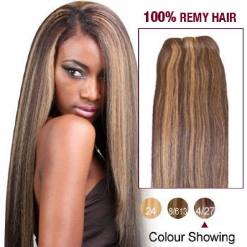 """18"""" Brown/Blonde(#4/27) Straight Indian Remy Hair Wefts"""