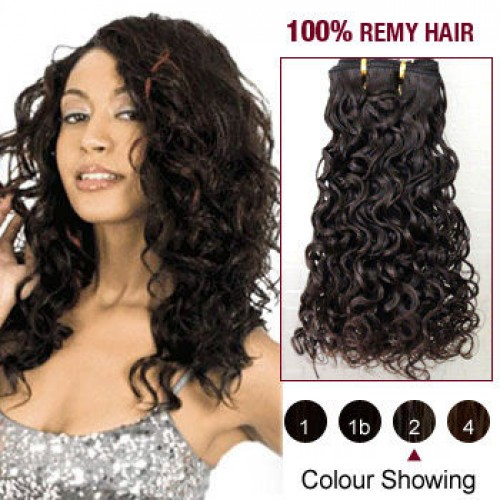 "24"" Dark Brown(#2) Curly Indian Remy Hair Wefts"