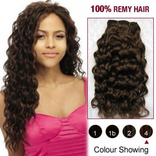 "14"" Medium Brown(#4) Curly Indian Remy Hair Wefts"