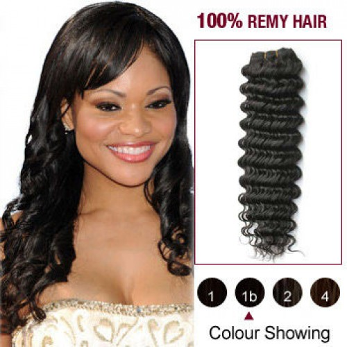 "16"" Natural Black(#1b) Deep Wave Indian Remy Hair Wefts"