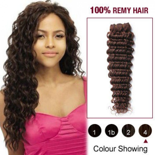 "18"" Medium Brown(#4) Deep Wave Indian Remy Hair Wefts"
