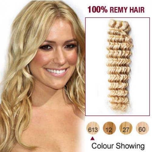 "20""Bleach Blonde(#613) Deep Wave Indian Remy Hair Wefts"