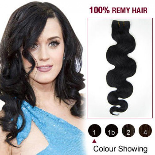 "16"" Jet Black(#1) Body Wave Indian Remy Hair Wefts"