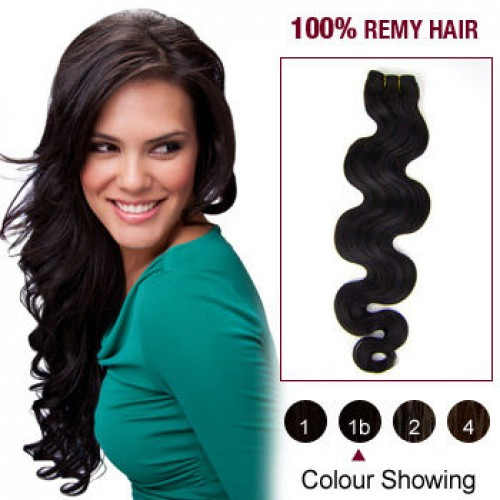 "16"" Natural Black(#1b) Body Wave Indian Remy Hair Wefts"