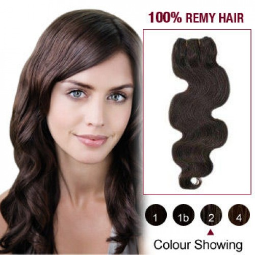 "12"" Dark Brown(#2) Body Wave Indian Remy Hair Wefts"