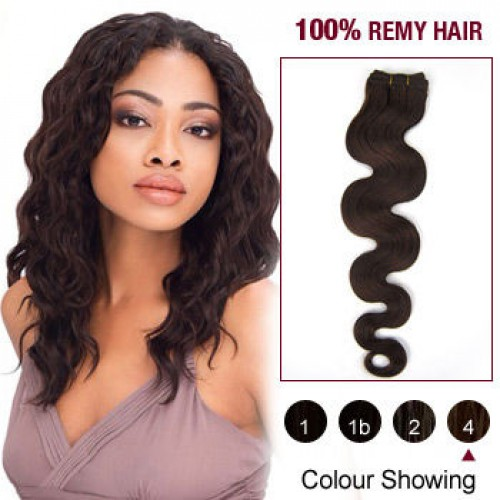 "16"" Medium Brown(#4) Body Wave Indian Remy Hair Wefts"