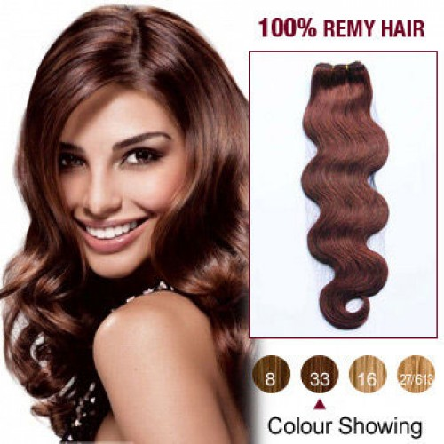 "10"" Dark Auburn(#33) Body Wave Indian Remy Hair Wefts"