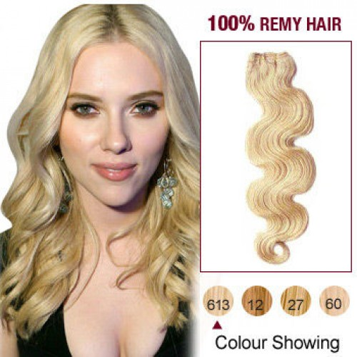 "16"" Bleach Blonde(#613) Body Wave Indian Remy Hair Wefts"