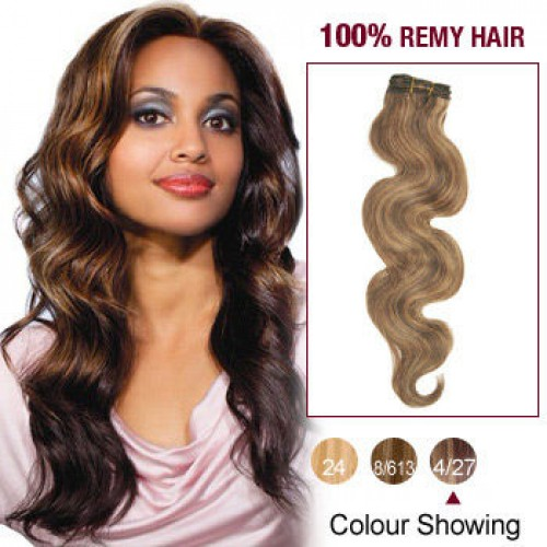 "20"" Brown/Blonde(#4/27) Body Wave Indian Remy Hair Wefts"