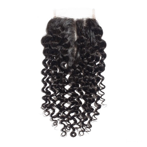 14 Inches Deep Curly Natural Black Free Parted Indian Remy Lace Closure