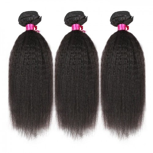 26 Inches*3 Kinky Straight Natural Black Virgin Brazilian Hair