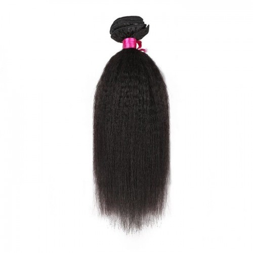 24 Inches Kinky Straight Natural Black Virgin Peruvian Hair