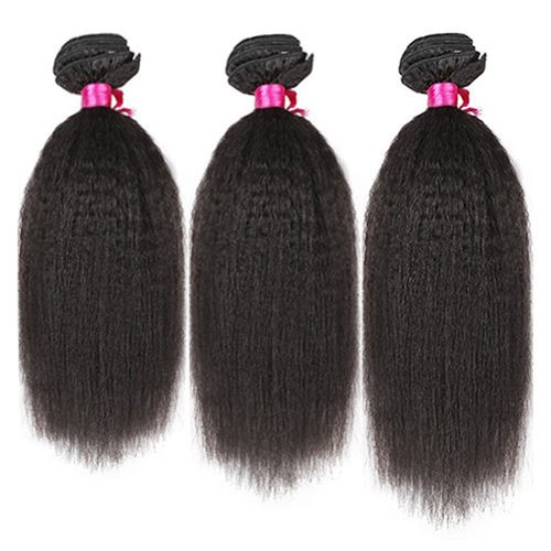 14 Inches*3 Kinky Straight Natural Black Virgin Peruvian Hair