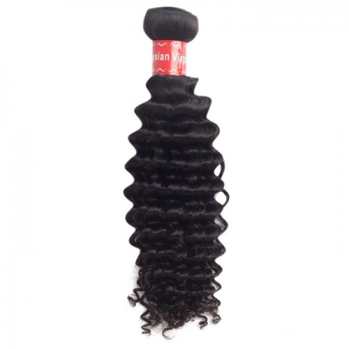 16 Inches Deep Curly Natural Black Virgin Malaysian Hair