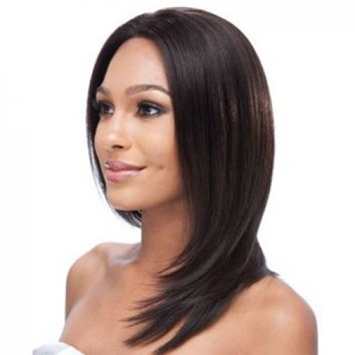Human Hair Full Lace Wig Straight Natural Black