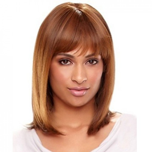 Human Hair Full Lace Wig Straight Light Auburn