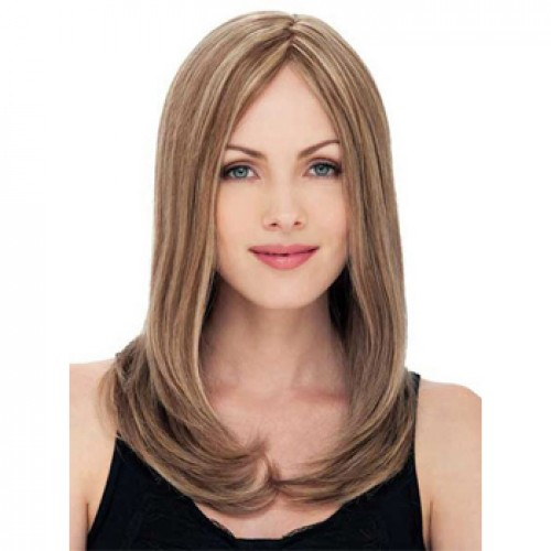 Human Hair Lace Front Wig Straight Blonde Highlight #18/613