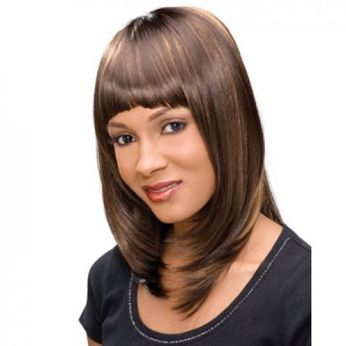 Human Hair Lace Front Wig Straight Brown Highlight