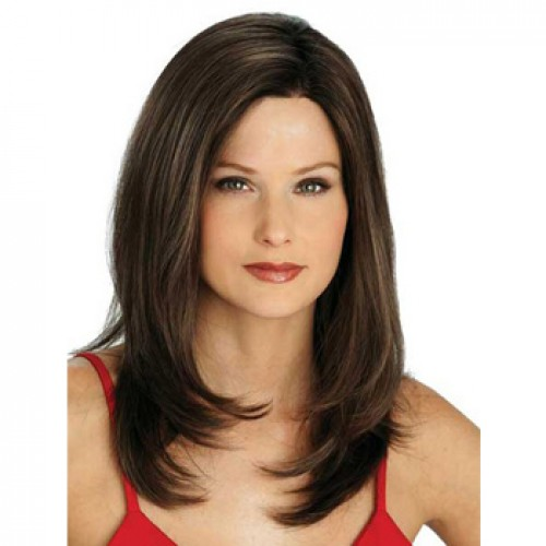 Human Hair Full Lace Wig Straight Dark Brown
