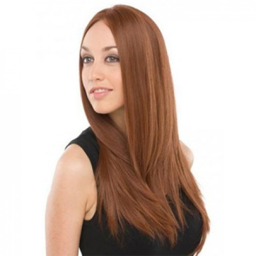 Human Hair Lace Front Wig Straight Light Auburn