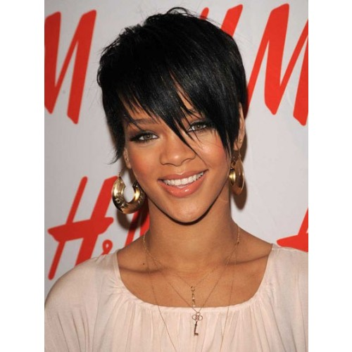 Celebrity Human Hair Full Lace Wig Straight Jet Black