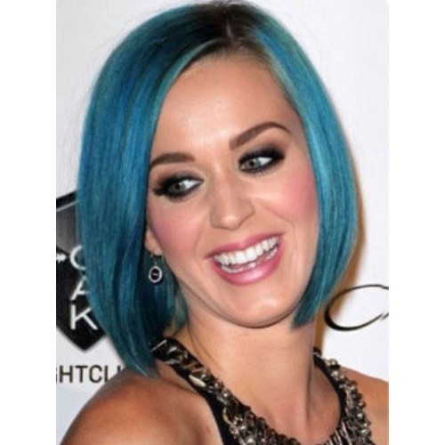 Celebrity Human Hair Full Lace Wig Straight Blue