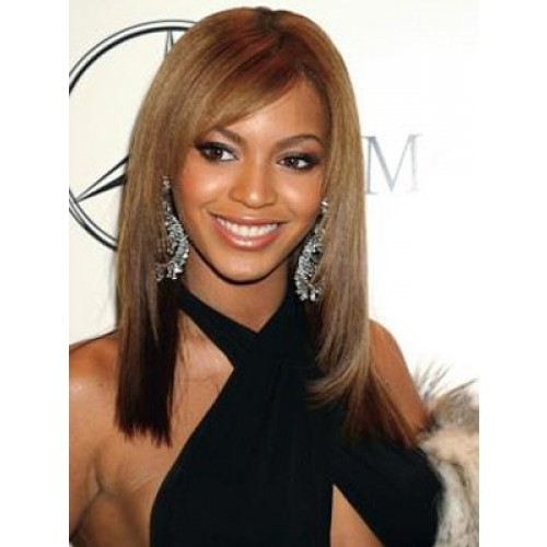 Celebrity Human Hair Full Lace Wig Straight Ash Brown