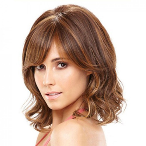 Human Hair Lace Front Wig Wavy Brown Highlight #4/27