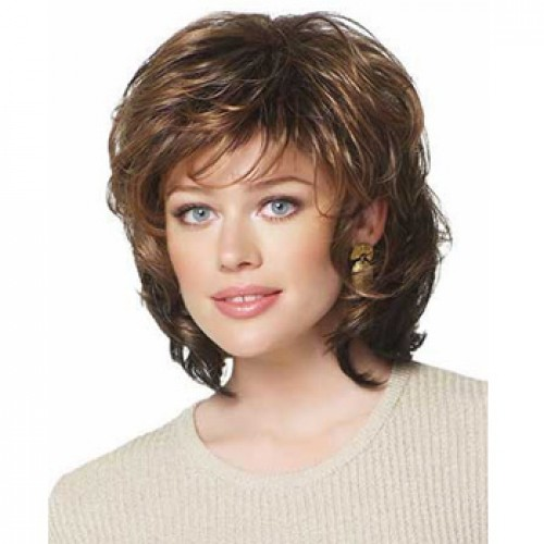 Human Hair Full Lace Wig Wavy Medium Brown