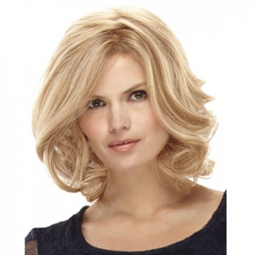 Human Hair Full Lace Wig Wavy White Blonde