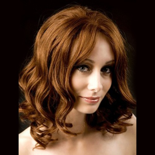 Human Hair Lace Front Wig Wavy Golden Brown