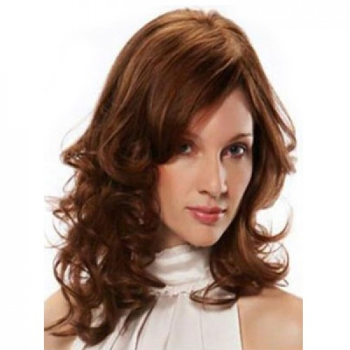 Human Hair Full Lace Wig Wavy Light Auburn