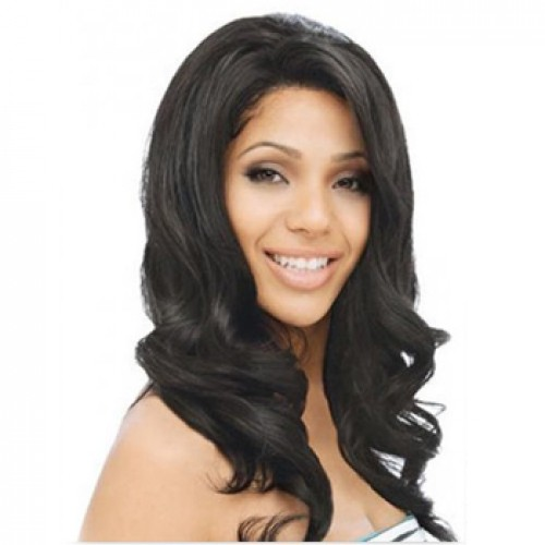 Human Hair Lace Front Wig Wavy Jet Black