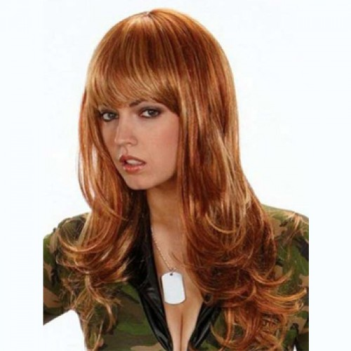 Human Hair Lace Front Wig Wavy Light Auburn