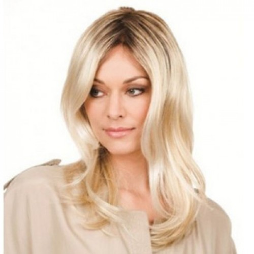 Human Hair Lace Front Wig Wavy Bleach Blonde