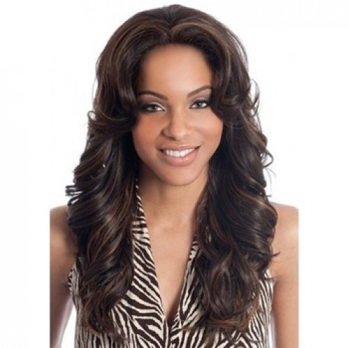 Human Hair Full Lace Wig Wavy Brown Highlight