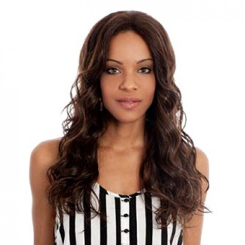 Human Hair Lace Front Wig Wavy Medium Brown