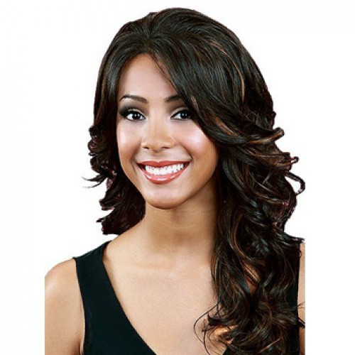Human Hair Lace Front Wig Wavy Black Highlight