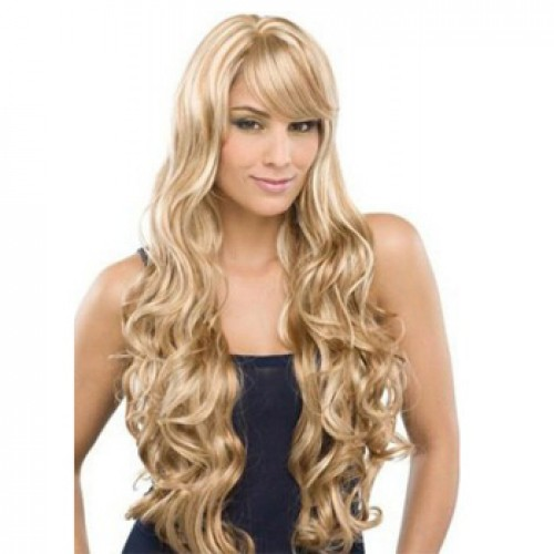 Human Hair Full Lace Wig Wavy Blonde Highlight