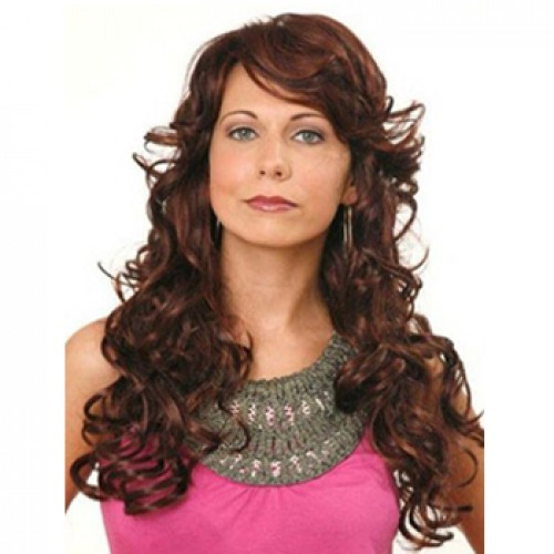 Human Hair Full Lace Wig Wavy Dark Auburn