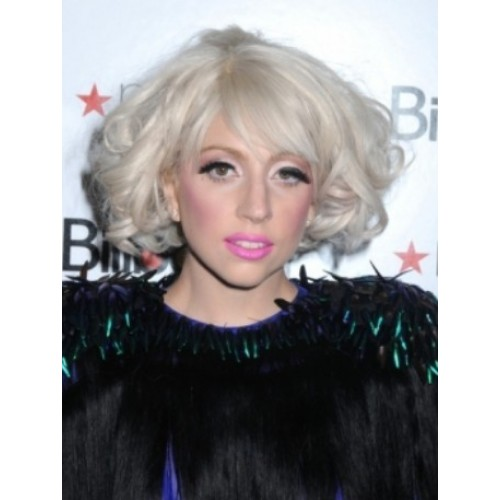 Celebrity Human Hair Full Lace Wig Wavy White Blonde