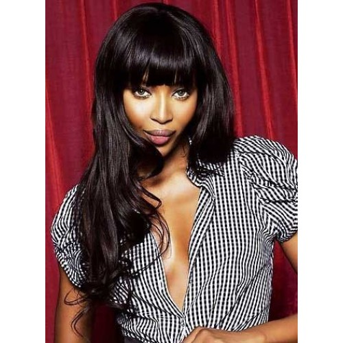 Celebrity Human Hair Full Lace Wig Wavy Natural Black