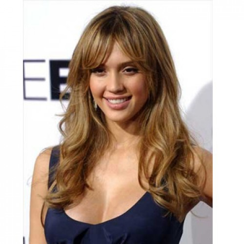 Celebrity Human Hair Full Lace Wig Wavy Golden Brown