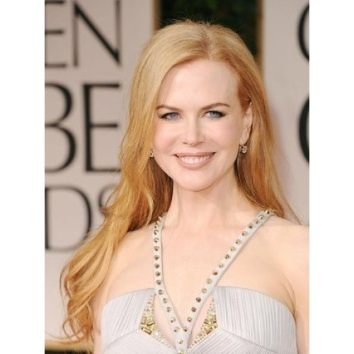 Celebrity Human Hair Full Lace Wig Wavy Strawberry Blonde