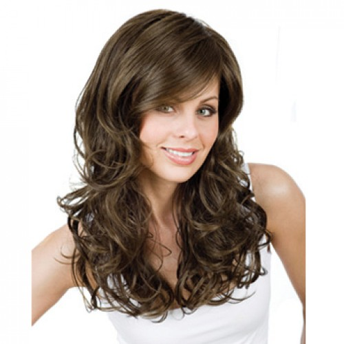 Human Hair Full Lace Wig Straight Brown Highlight