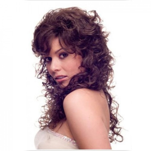 Human Hair Lace Front Wig Curly Medium Brown