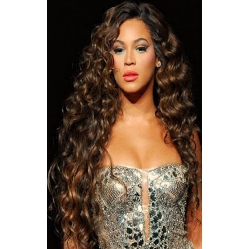Celebrity Human Hair Full Lace Wig Curly Brown Highlight