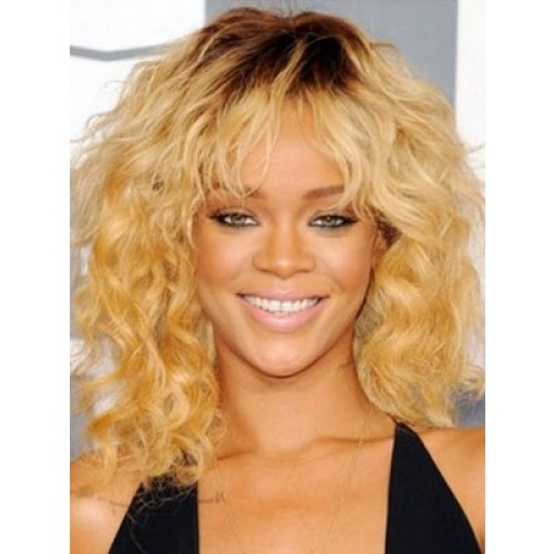 Celebrity Human Hair Full Lace Wig Curly Dark Brown