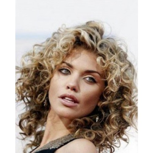 Celebrity Human Hair Full Lace Wig Curly Golden Blonde