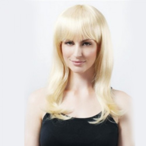Synthetic Hair Wig Straight Bleach Blonde